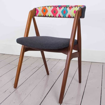 SALE ! - Yucay Chair- 1960's Danish Chair with Handwoven Peruvian Tribal Textile Upholstery