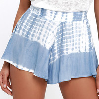 Knock on Wood Blue Tie-Dye Shorts