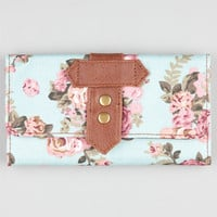 Floral Print Canvas Wallet Mint One Size For Women 21073752301
