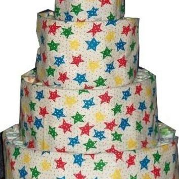 Multi Colored Stars Themed Baby Shower 4 Tier Diaper Cake Table Centerpiece or Baby Boy Sprinkle Gift
