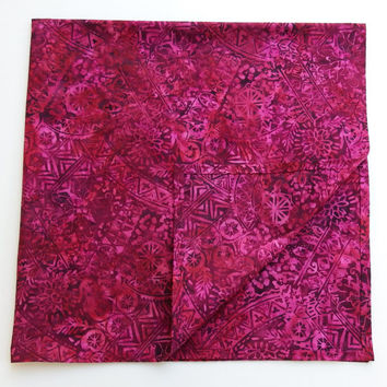 "Large Square Scarves / Magenta Scarf / 30"" Square Scarves / Large  Batik Scarf / Large Head Scarves / Large Cotton Batik Bandana Pomegranate"