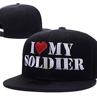 RHXING I Love My Soldier Logo Adjustable Snapback Embroidery Hats Caps