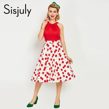 vintage dress style spring summer cherry print red women party dress new elegant female vintage dresses