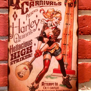 "DC Bombshells Harley Quinn Quinzel Carnivals 6.5"" x 10"" Distressed Wooden Plaque Sign - Great Gift Idea"