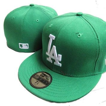 auguau Los Angeles Dodgers New Era MLB Authentic Collection 59FIFTY Cap Green-White LA