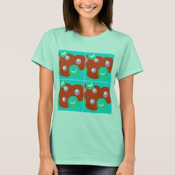 Aqua tee with a abstract design