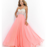 Coral Pink Beaded Ombre One Shoulder Open Back Chiffon Gown