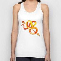 gold snake Unisex Tank Top by WICKEDBAD