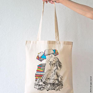 Alice flying books tote bag-Fall tote bag-cool tote bag-back to school-tote bag-school bag-college tote bag-library tote bag-bag-NPTB109