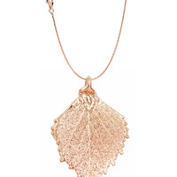 Real Leaf PENDANT with Chain BIRCH Dipped in Rose Gold Genuine Leaf Necklace