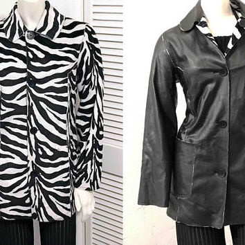 Vintage 1990s Reversible MUDD Jacket / Black and White Coat / Zebra Animal Print / Black Faux Leather / Large Pockets / Front Button Blazer
