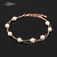 Charm Bracelets & Bangles White/Rose Gold Plated Fashion Simulated Pearl Beads