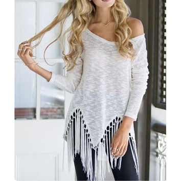 Long Sleeve Tassel Beach Shirt Top Tee