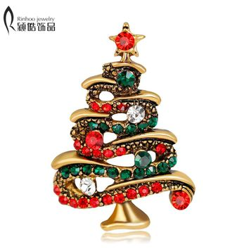 Crystal Christmas Tree Brooches Gift for the New Year Full Colorfull Rhinestones Scarf Clip Christmas Brooch Pins