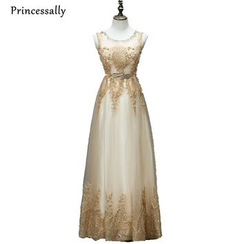 Champagne Gold Bridesmaid Dress Sequined Long Pearl Formal Gown Prom Embroidery Beading Robe de Soiree Vestido De Festa Noiva