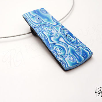 Polymer Clay Necklace Blue Fantasy -  Art Jewelry - Colored Dreams Blue, White Black. Modern Jewelry. Rectangular Pendant. Ready to ship.
