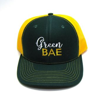 Wisconsin Trucker Hat - Green and Gold Snapback with Green Bae