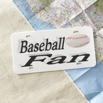 Baseball Fan 3D License Plate