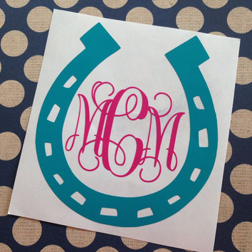 Multi-Colored Horseshoe Vinyl Monogram | Round Font Monogram | Circle Font Monogram | Equestrian Monogram | Vinyl Monogram Decal