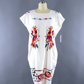 Vintage 1970s Oaxacan Mexican Embroidered Cotton Gauze Caftan Dress / White & Orange Birds