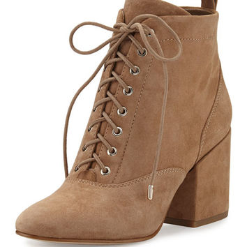 Sam Edelman Tate Suede Chunky-Heel Bootie, Oatmeal