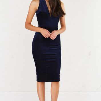 AKIRA V Neck Textured Midi Dress With Cutouts in Burgundy and Blue