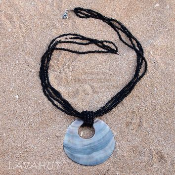 Moondance Black Hawaiian Bead Necklace