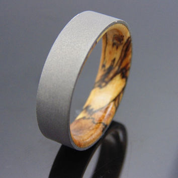 Tamarind wood ring with blasted Titanium Handmade wedding band