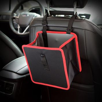 Delicate car garbage can car trash hanging bag oxford rubbish organizers storage bag Mini garbage Bin Dust Case Holder Box