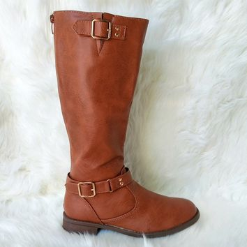 Women's Tan Boot with Buckle Details