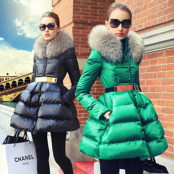 Prase women's fashion 2016 swandown thin fur collar down coat medium-long female outerwear down coat