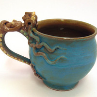 Mermaid Mug- Turquoise Mat and Natural Red Clay