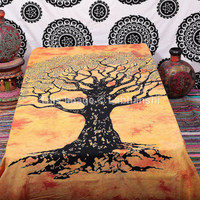 Tree Of Life Tapestry , Hippie Tapestries , Bohemian Boho Coverlet , New Age Dorm Sheet ,Wall Tapestries, Tapestry Wall Hanging,