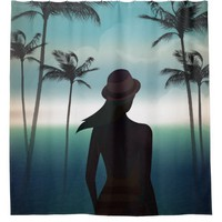 Summer beach background with palms Shower Curtain