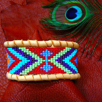 ORDER 1 With your colors - Native American Beadwork - Deerskin Beaded Leather Bracelet, Custom Pick your Own Colors. Tribal, Primitive, Boho