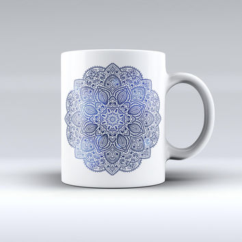 The Dark Blue Indian Ornament ink-Fuzed Ceramic Coffee Mug