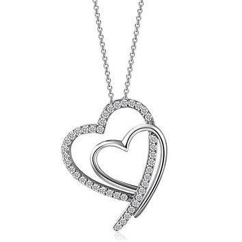 Caperci Sterling Silver Diamond Accent Shadowed Double Open Heart Pendant Necklace for Women, 18''