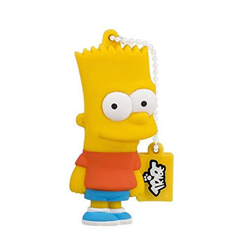 Tribe FD003402 Simpson Springfield Pendrive Figure 8 GB Funny USB Flash Drive 2.0 Memory Stick Data Storage, Keyholder Key Ring, Bart Simpson, Yellow