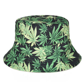 Weed Bucket Hats 2015 Designer Black Bucket Hats basin of maple leaf design cott