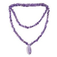 Amethyst, Purple Agate Necklace (36 in) in Silvertone TGW 128.280 cts.