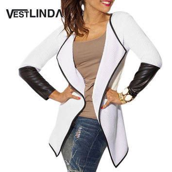 VESTLINDA Fashion Outerwear Fall Coat Women Cardigan Chic Collarless Long Sleeve Knitted Leather Spliced Basic Ladies Cardigan