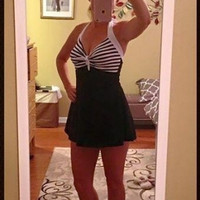 Black Plus Size Striped Two-Piece Swimsuits