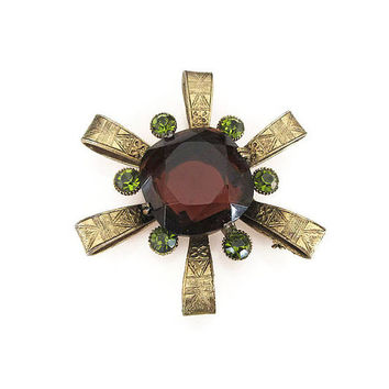 Amber Glass Brooch, Green Rhinestones, Capri Brooch, Egyptian Revival, Vintage Brooch, Vintage Jewelry, Statement Jewelry