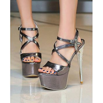Fashionable Sexy Night Club Fishmouth High-heeled Shoes Super High-heeled Sandals
