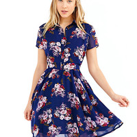 Printed Shirt Collar Short Sleeve A-Line Pleated Mini Dress