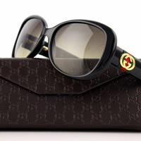 RARE NEW Authentic GUCCI Shiny Black Brown Shaded Sunglasses GG 3644/S D28 ED