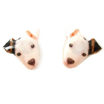 Realistic Black and White Spot Terrier Face Shaped Animal Resin Stud Earrings