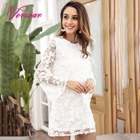 Versear Backless Lace Up Summer Dress for Female Korea Fashion Mesh White Crochet Lace Flare Sleeve Shift Mini Dress Vestidos