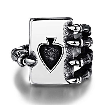 Fashion Punk Men Ring Fashion Punk Men Jewelry Sell Like Hot Cakes Personality Poker 316 l Steel Men's Ring