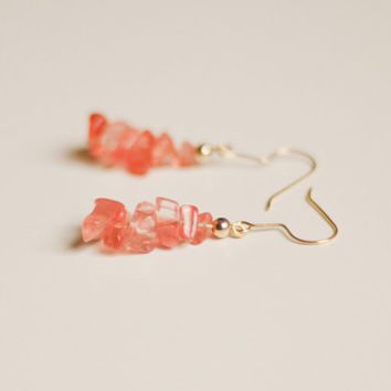 Pink rose quartz chip dangle earrings, rough raw semi precious gemstone + gold beads, cherry quartz, graduated, rock candy, crystal, glass